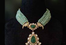 multi strand pearl necklace with polki pendant