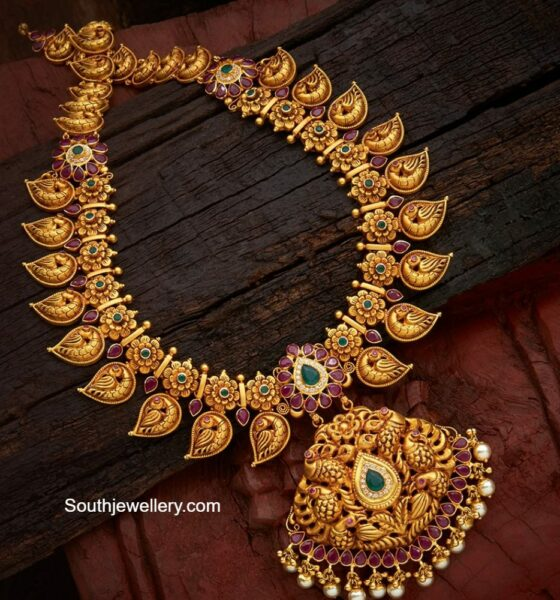 peacock nakshi mango necklace