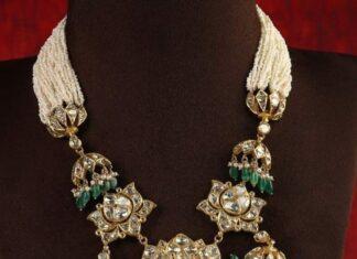 pearl necklace with kundan pendant tiraa