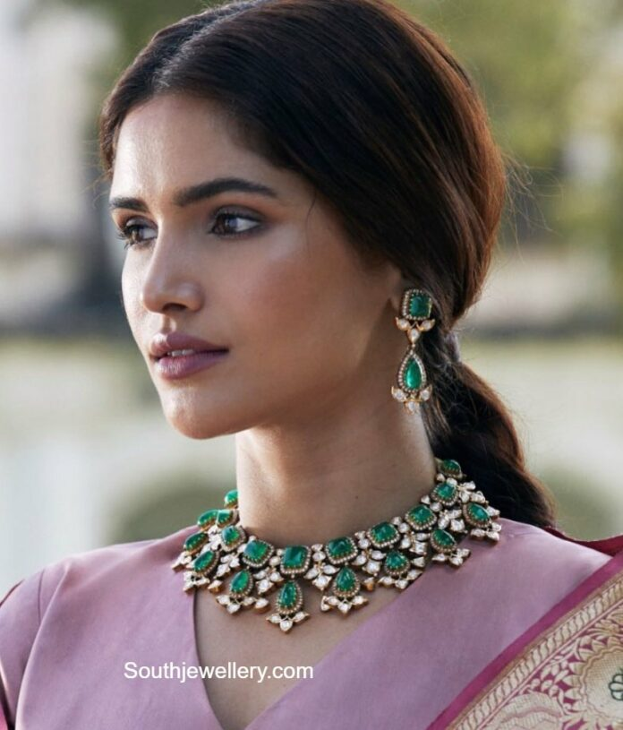 polki emerald necklace and earrings