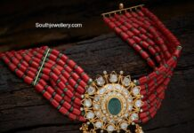 red and green beads choker with polki pendant