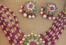 ruby beads choker with polki pendant (1)