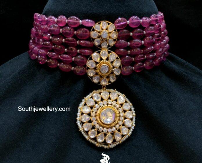ruby beads choker with polki pendant