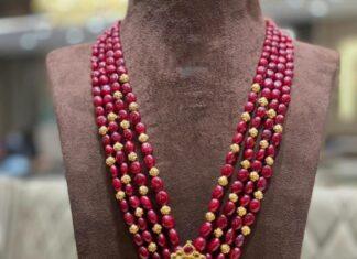 ruby beads haram with kundan pendant (1)
