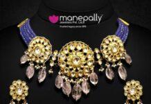 sapphire beads choker with kundan pendant