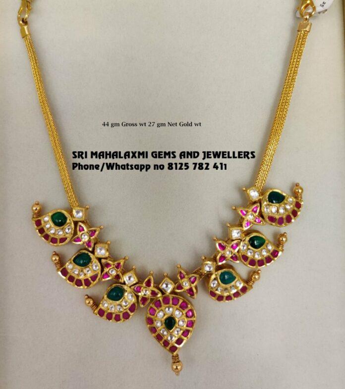 simple kundan mango necklace