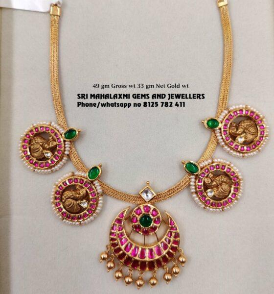 simple kundan peacock necklace