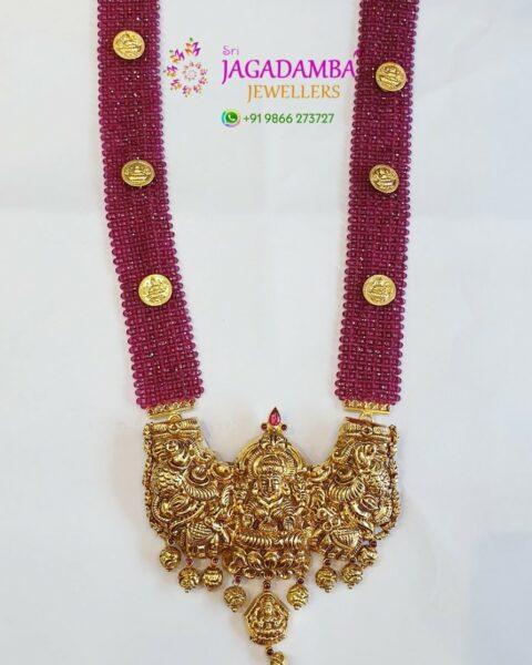 ruby long haar with nakshi pendant