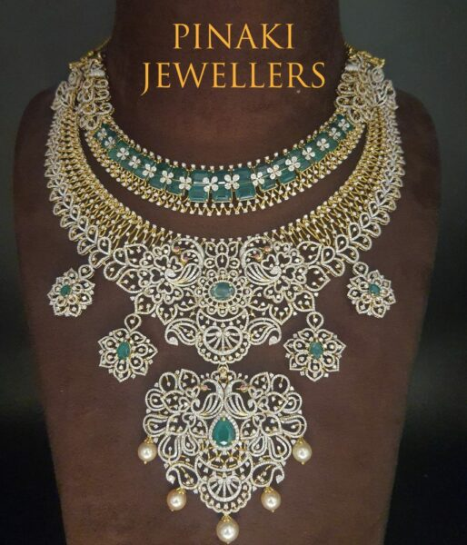 diamond and emerald step necklace