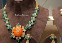 emerald and polki necklace set