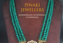 emerald beads haram with chandbali pendant