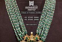emerald beads haram with lakshmi pendant