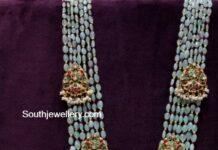 emerald beads haram with nakshi pendant