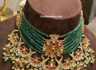emerald beads jadau choker