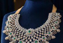 floral diamond emerald necklace