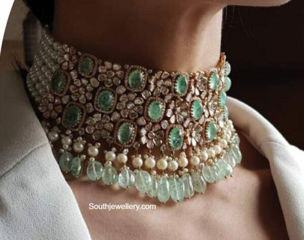 floral polki emerald choker