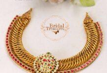gold links necklace with kundan pendant neelkanth