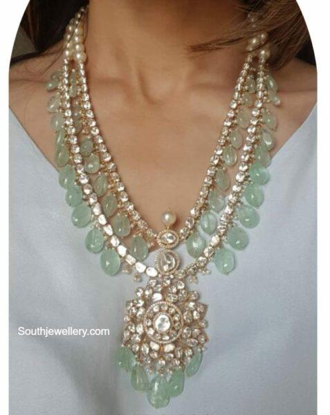 layered emerald polki haram