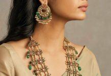 layered kundan pearl haram and chandbalis