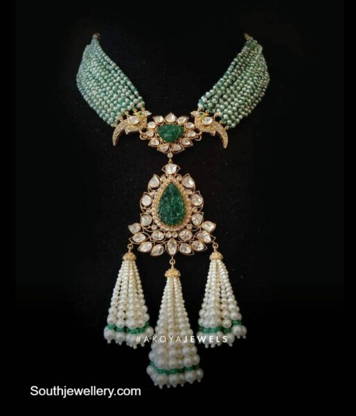 multi strand pearl and emerald bead necklace
