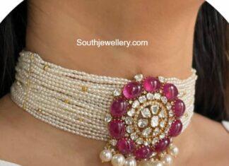 multi-strand pearl choker with polki pendant