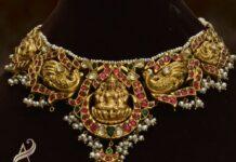 peaock necklace with lakshmi pendant