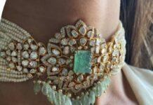 pearll choker with polki pendant