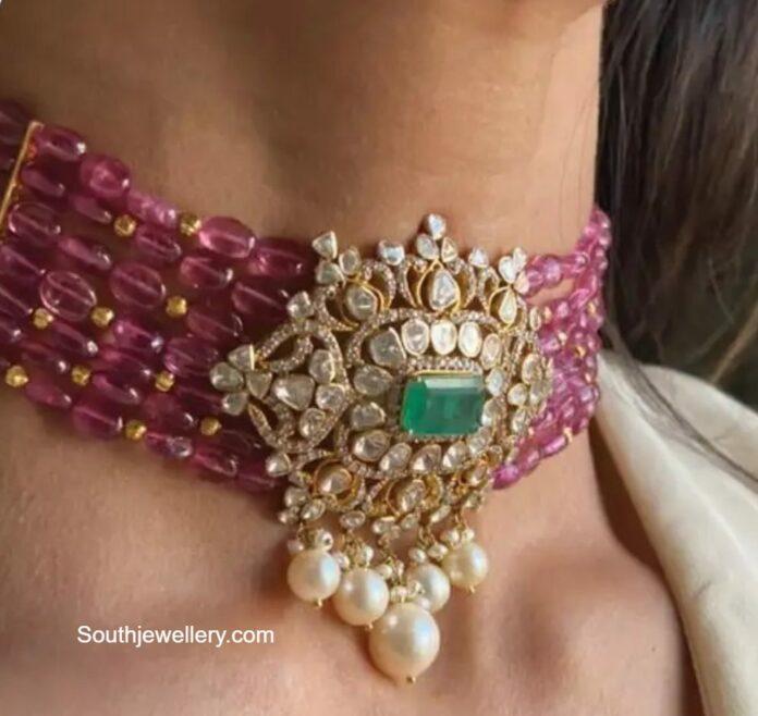 ruby beads choker with uncut diamond pendant