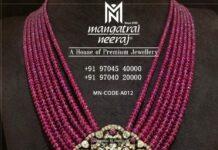 ruby beads haram with polki pendant