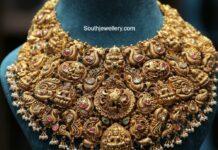 antique gold peacock lakshmi choker