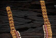 antique gold peacock nakshi haram (1)