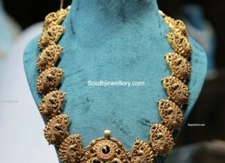 antique gold peacock nakshi haram (3)