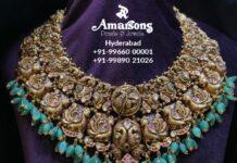 antique gold peacock nakshi necklace
