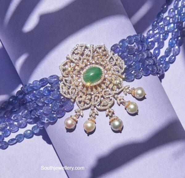 blue tanzanite beads necklace with diamond pendant parnicaa