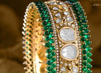 broad polki and emerald bangle