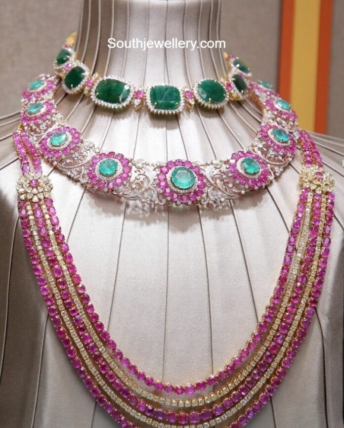 diamond an ruby jewellery set vasundhara