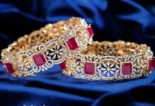 diamond and ruby broad bangles