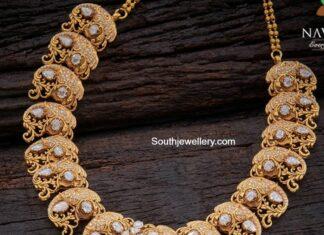 diamond elephant haram with lakshmi pendant