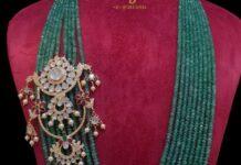 emerald beads hara with polki side pendant