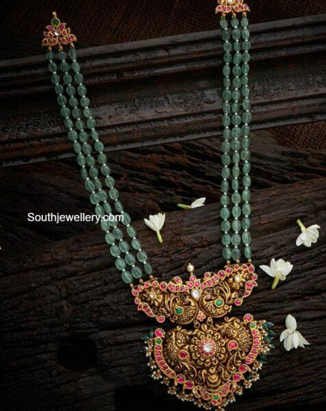 emerald beads haram with nakshi pendant (1)