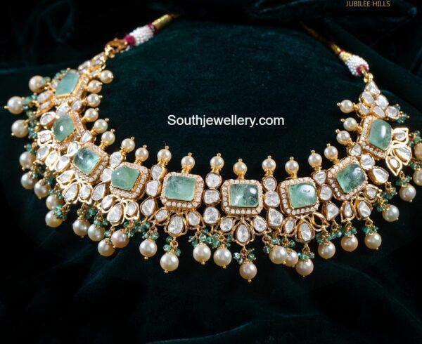 emerald polki necklace