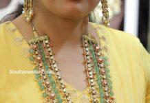 kundan and emerald beads haram