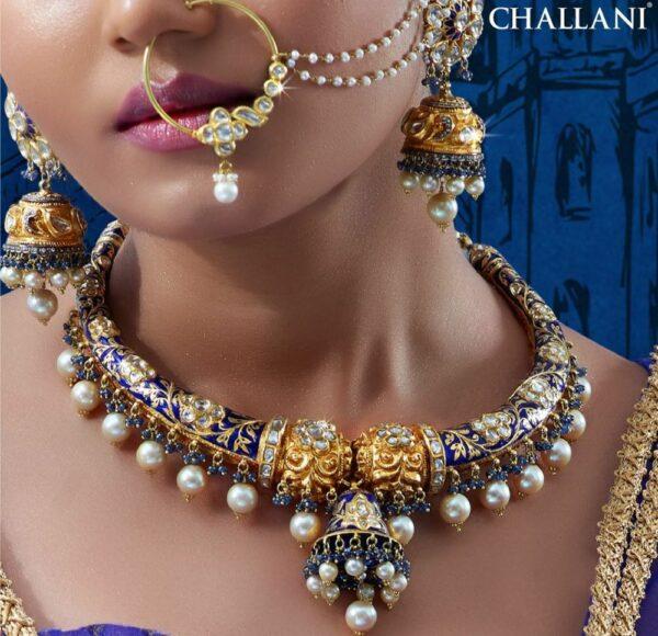 meenakari kante necklace and jhumkas