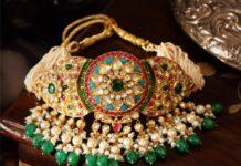 multi strand pearl choker with polki pendant jagdish