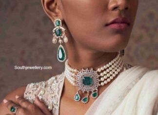 pearl choker with diamond emerald pendant (1)