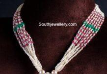 pearl necklace with polki pendant sri krishna