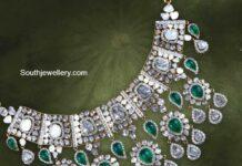 polki and emerald necklace pavan mor