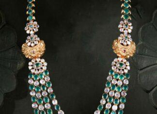 polki emerald layered necklace