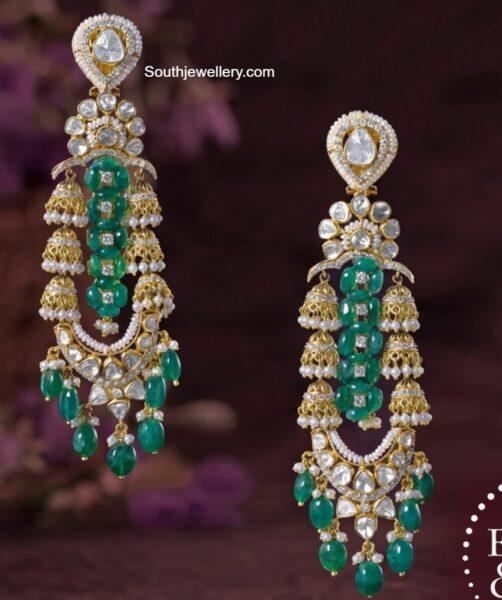 polki emerald long earrings