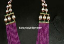purple beads haram with kundan pendant pavan mor